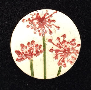CERAMIC BROOCH round pink agapanthus by JACQUI SELLER