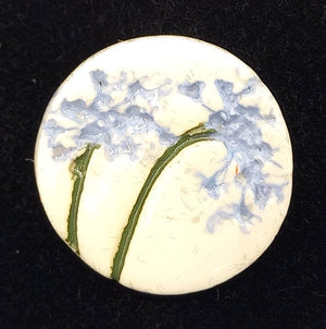 CERAMIC BROOCH round blue agapanthus by JACQUI SELLER