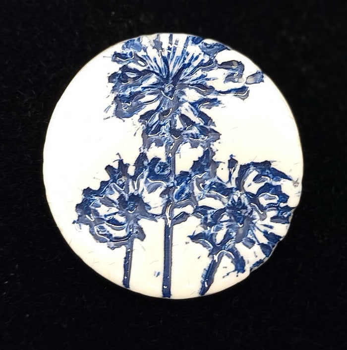 CERAMIC BROOCH round navy agapanthus by JACQUI SELLER