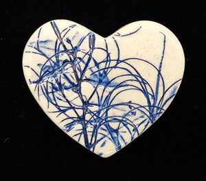 CERAMIC BROOCH heart blue leaf by JACQUI SELLER