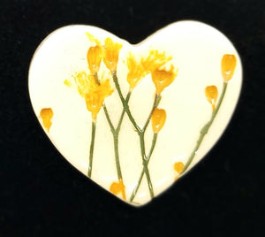 CERAMIC BROOCH heart yellow gypsophila by JACQUI SELLER