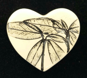 CERAMIC BROOCH heart black leaf by JACQUI SELLER