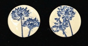 CERAMIC STUD -navy agapanthus by JACQUI SELLER