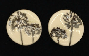 CERAMIC STUD -black agapanthus by JACQUI SELLER