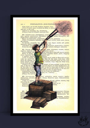 BOY WITH TELESCOPE VINTAGE PRINT by Justine Woycicka