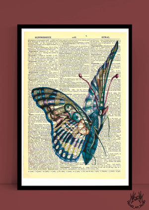 BUTTERFLY VINTAGE PRINT by Justine Woycicka