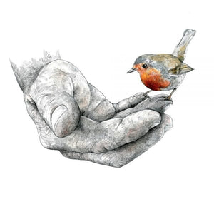 THE GARDENER AND THE ROBIN PRINT by Hannah Longmuir