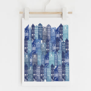 BLUE TENEMENT PRINT by Jenni Douglas