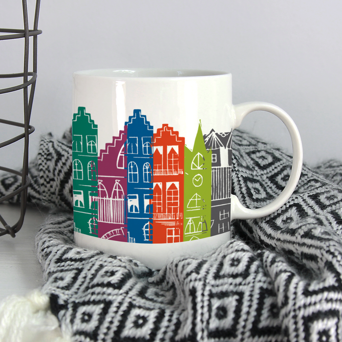 CITYSCAPE RAINBOW BONE CHINA MUG