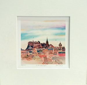 beautiful edinburgh skyline by keli clark. Limited edition of 550. Signed by artist. Mounted 205x205mm