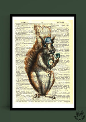 SQUIRREL VINTAGE PRINT by Justine Woycicka