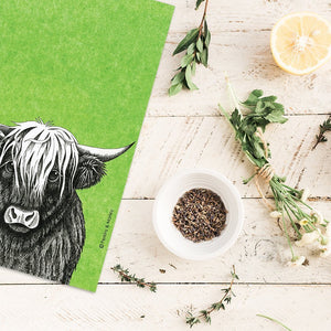 INK HIGHLAND COW TEATOWL