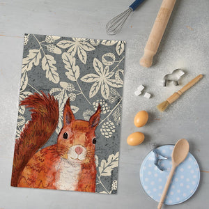 RED SQUIRREL TEATOWEL