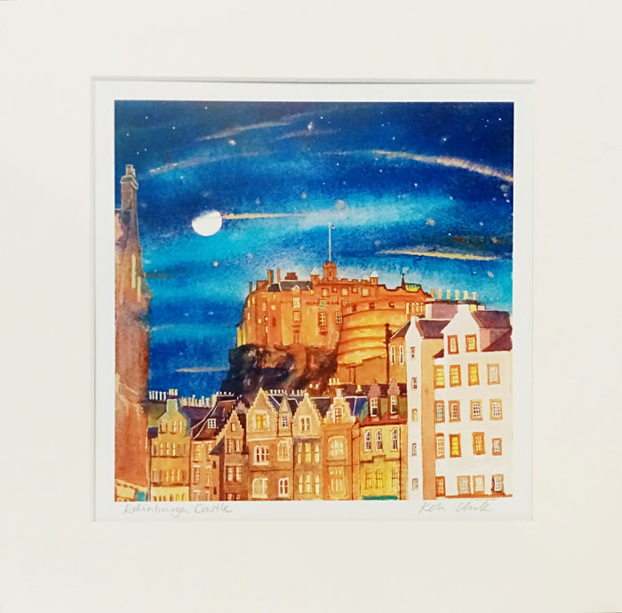 EDINBURGH CASTLE FROM GRASSMARKET  - Keli Clark Mounted Print