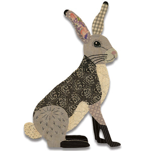 HARE WOODEN BROOCH