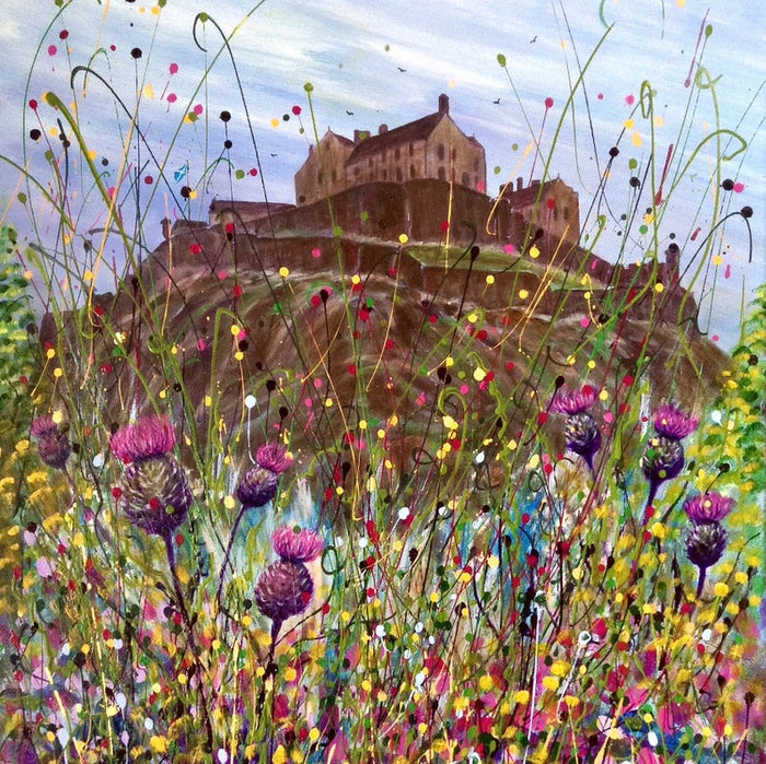 THISTLES BELOW EDINBURGH CASTLE by Pam Mckenzie