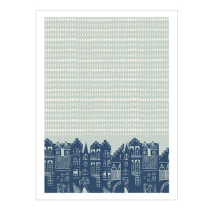 AN EDINBURGH DAY PRINT - DUCK EGG BLUE  by Jenni Douglas