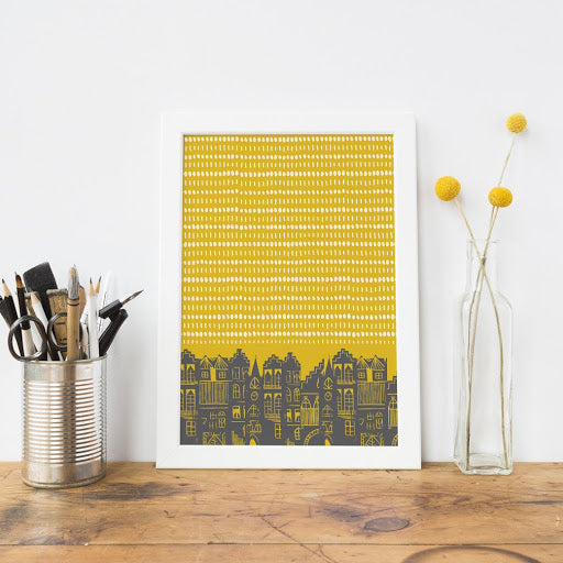 AN EDINBURGH DAY PRINT - MUSTARD  by Jenni Douglas