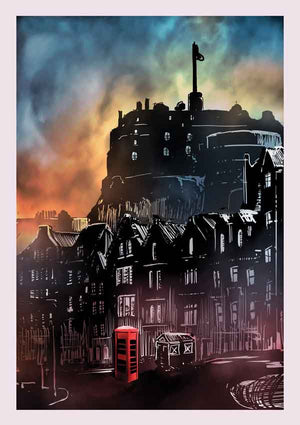 red phone box grassmarket art poster print