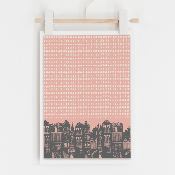EDINBURGH DAY PRINT - PINK by Jenni Douglas