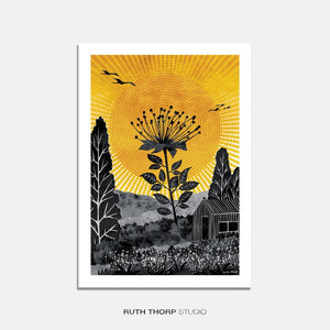 RUTH THORP PRINT SUNSET FLOWER. this has a shed with a flower in the sunset