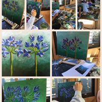 Load image into Gallery viewer, Agapanthus :  Downloadable Guided Painting : step by step instructions plus how to video and narration
