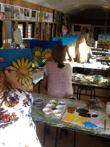 Sunflowers and Butterfly:  Downloadable Guided Painting : step by step instructions plus how to video and narration