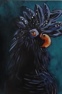 Black Cockatoo : Downloadable Guided Painting : step by step instructions plus how to video