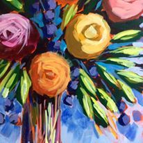 Load image into Gallery viewer, Bunch of Flowers :  Downloadable Guided Painting : step by step instructions plus how to video and narration