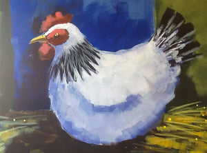 The Happy Hen :  Downloadable Guided Painting : step by step instructions plus how to video and narration