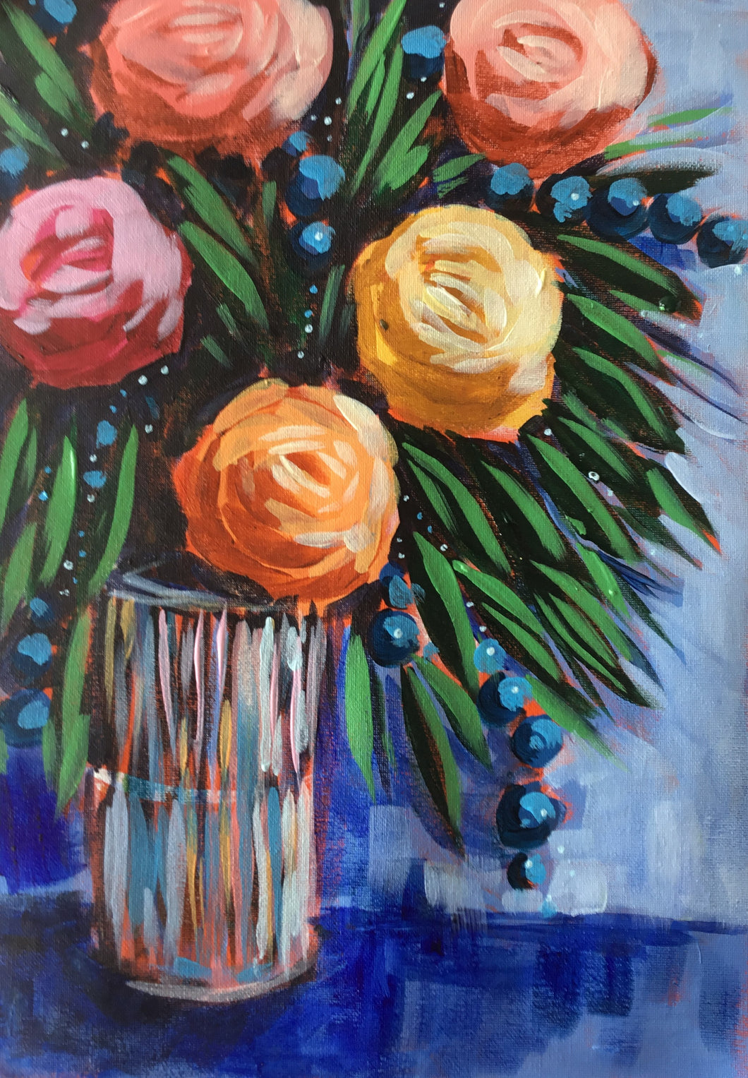 Bunch of Flowers :  Downloadable Guided Painting : step by step instructions plus how to video and narration