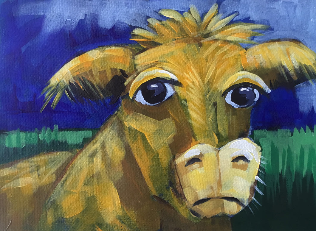 The Curious Cow :  Downloadable Guided Painting : step by step instructions plus how to video and narration