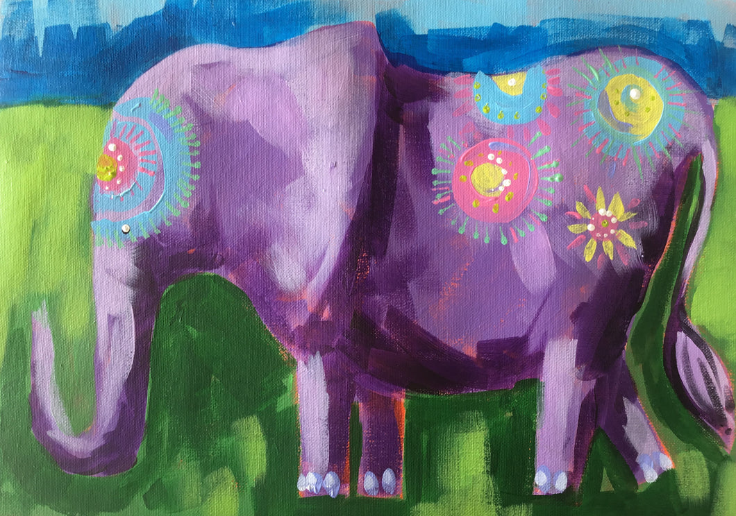 Enid the Elephant  : Downloadable Guided Painting : step by step instructions plus how to video and narration