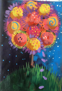 Flower Tree :  Downloadable Guided Painting : step by step instructions plus how to video and narration