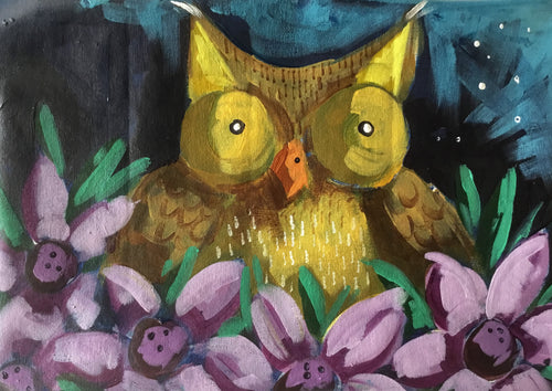 Little Owl : Downloadable Guided Painting : step by step instructions plus how to video and narration