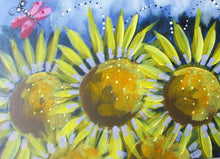 Load image into Gallery viewer, Sunflowers and Butterfly:  Downloadable Guided Painting : step by step instructions plus how to video and narration