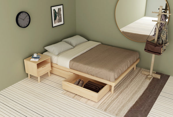 Boston Queen Platform Flexi-Slat Bed Base With 2x Storage Drawer