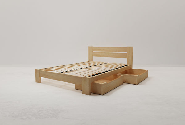 Roset Queen Flexi-Slat Bed Frame With 2 x Storage Drawer