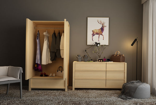 Koeler 2 Door & 1 Drawer Wardrobe - Oakano Furniture