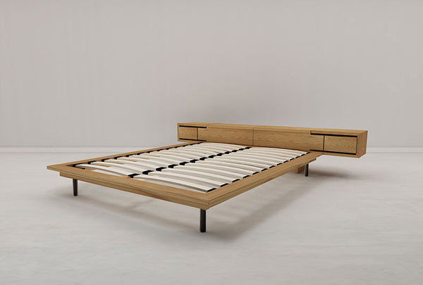 Long Island Queen Flexi-Slat Bed w/ Storage Headboard (Solid Oak)