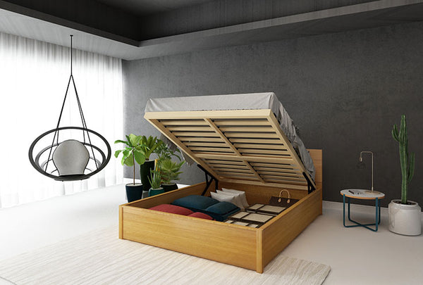 Norwish Queen Flexi-Slat Lift Up Storage Bed Frame