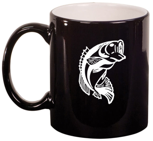 11oz Ceramic Coffee Tea Mug Glass Cup Bass Fish