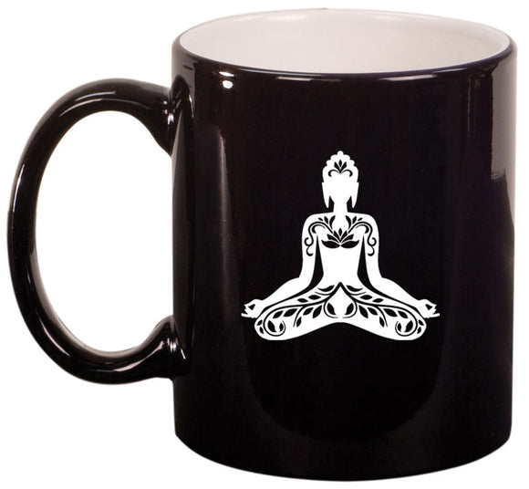 11oz Ceramic Coffee Tea Mug Glass Cup Buddha Yoga Om Lotus