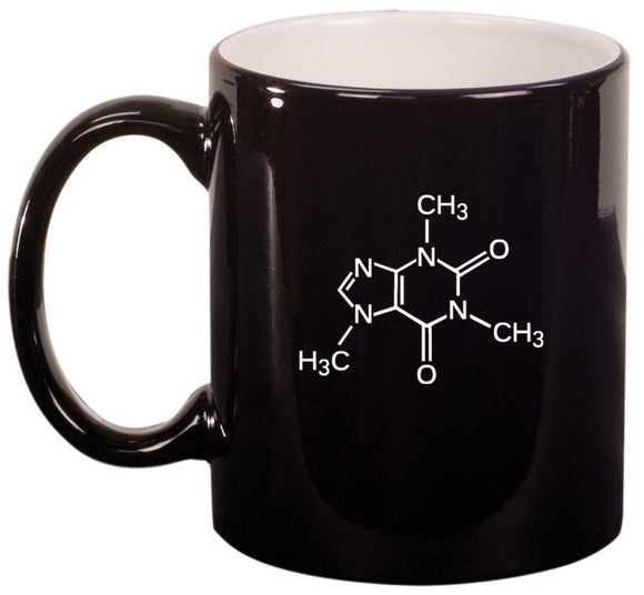 11oz Ceramic Coffee Tea Mug Glass Cup Caffiene Molecule