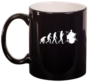 11oz Ceramic Coffee Tea Mug Glass Cup Evolution Drummer