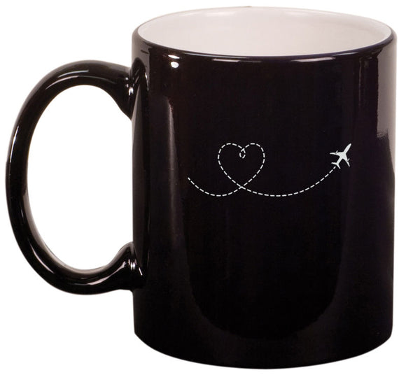 11oz Ceramic Coffee Tea Mug Heart Love Travel Airplane
