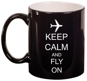 11oz Mug Keep Calm and Fly On Airplane
