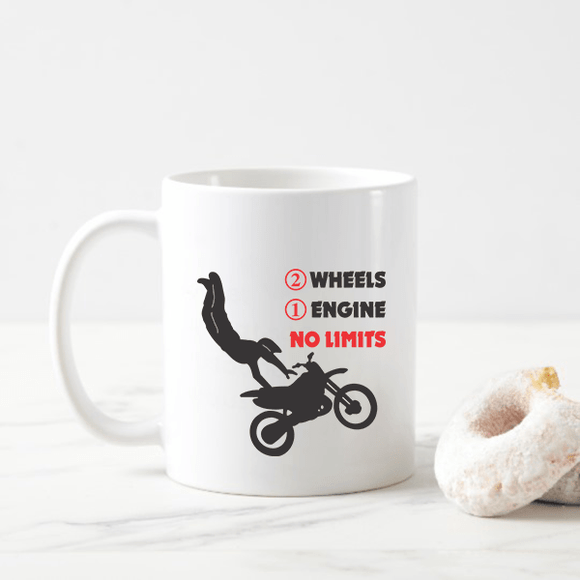 2 Wheels, 1 Engine, No Limits Dirt Bike Coffee Mugs