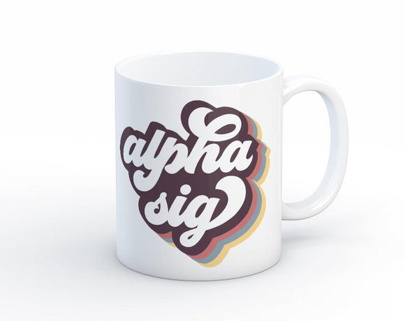 ASA Alpha Sigma Alpha Retro Script Mug Sorority Coffee Mug