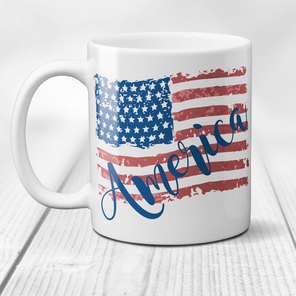 America Ceramic Coffee Mug Vintage Tattered American Flag Coffee Mug